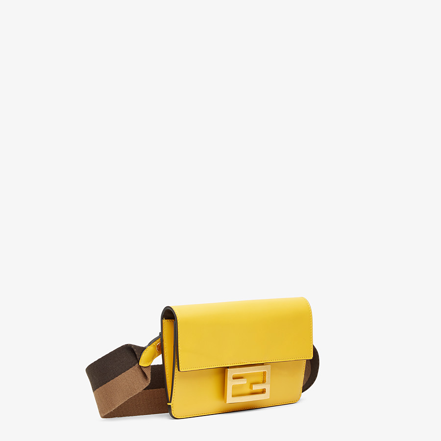 FENDI FLAT BAGUETTE - Yellow leather mini-bag - view 3 detail