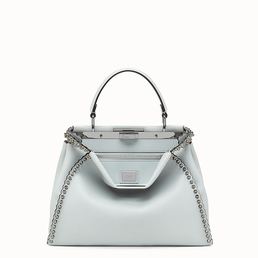 FENDI PEEKABOO REGULAR - Pale blue leather bag - view 1 detail