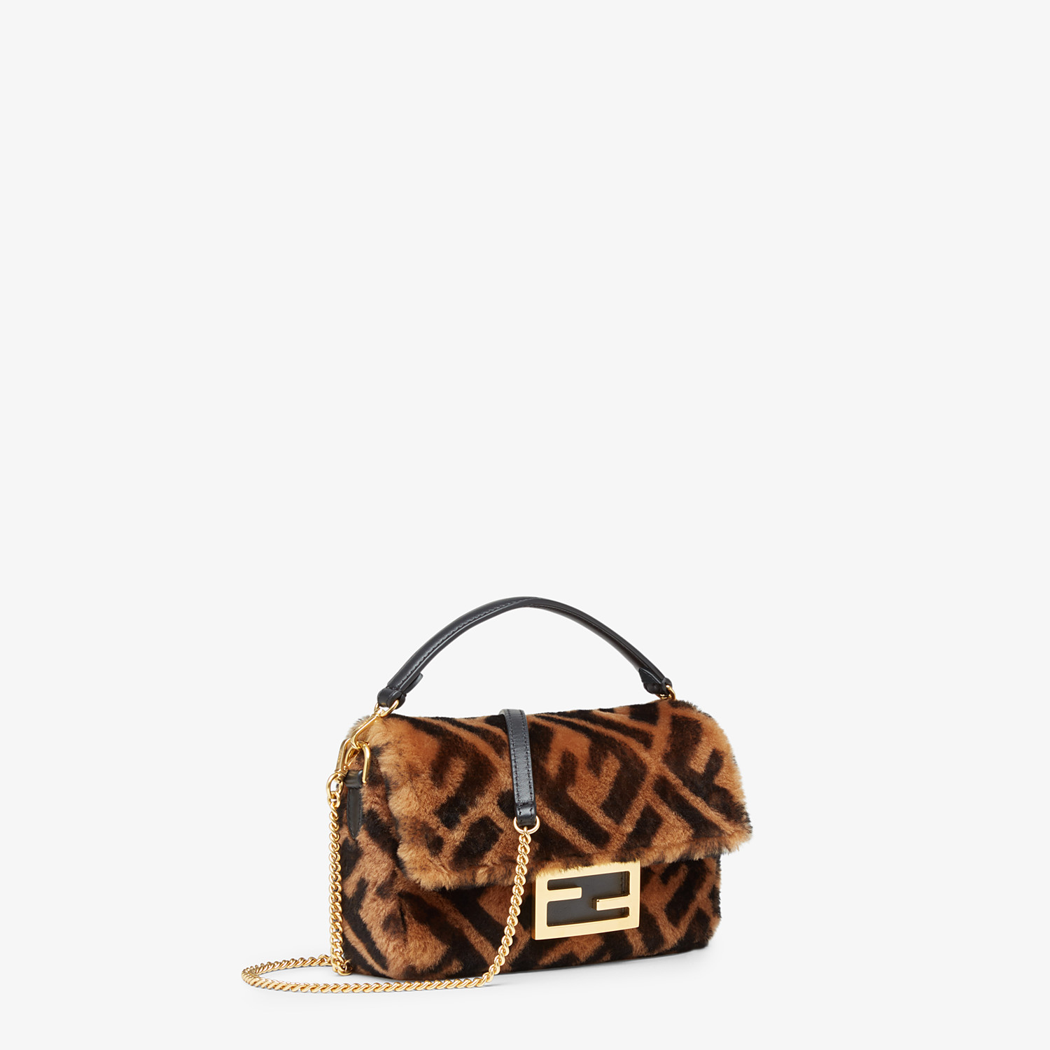 FENDI MINI BAGUETTE - Brown sheepskin bag - view 2 detail