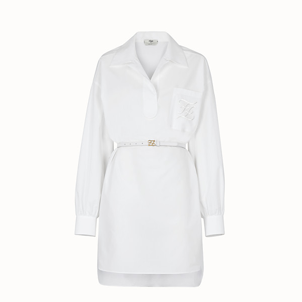 FENDI DRESS - White cotton taffeta dress - view 1 small thumbnail