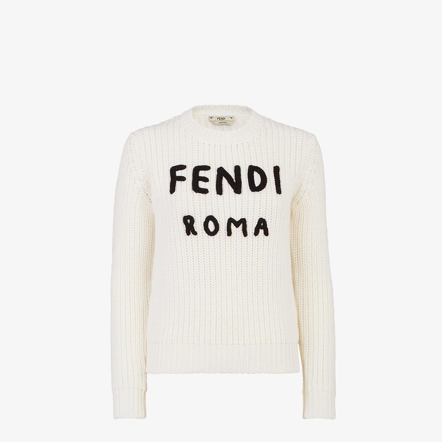 FENDI PULLOVER - White wool jumper - view 1 detail