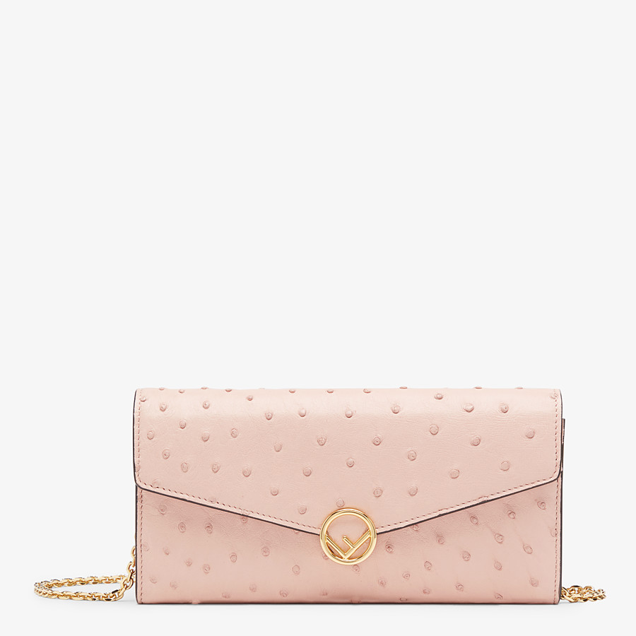 FENDI CONTINENTAL WITH CHAIN - Pink ostrich leather wallet - view 1 detail