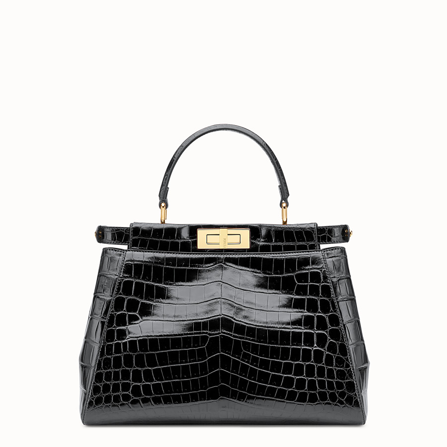 FENDI PEEKABOO REGULAR - Handtasche aus schwarzem Krokodilleder. - view 3 detail