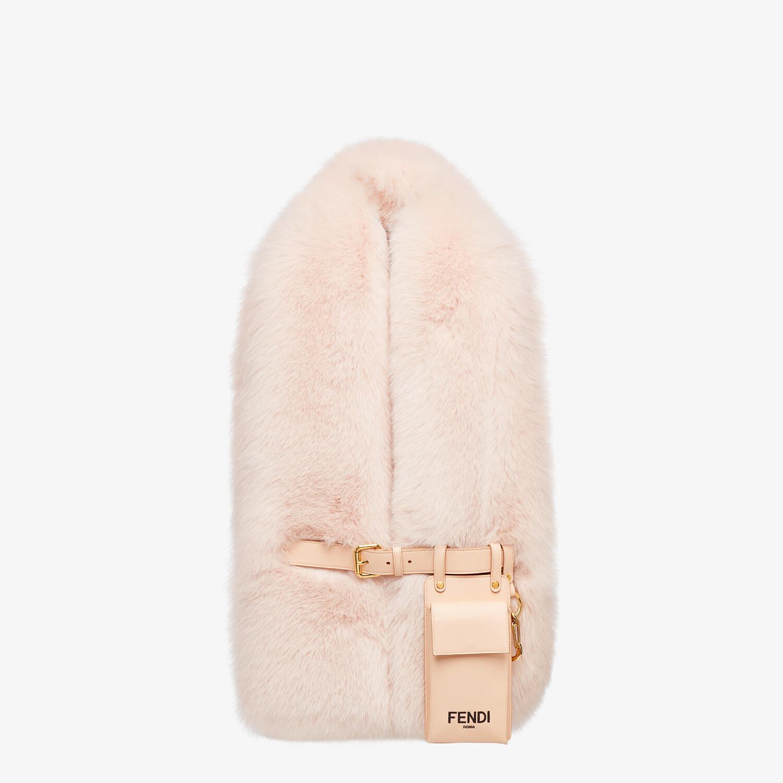 FENDI MAXI STOLE - Pink fox fur stole - view 1 detail
