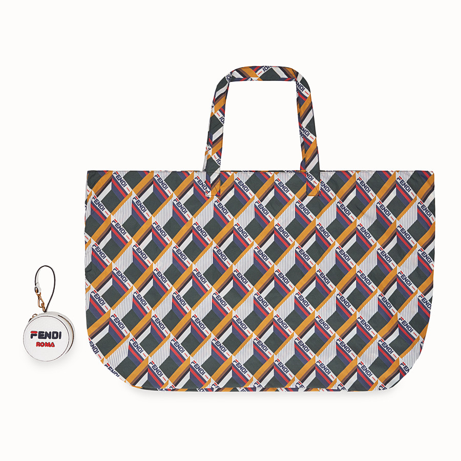 FENDI CHARM TOTE BAG - White leather charm with fabric tote bag - view 4 detail