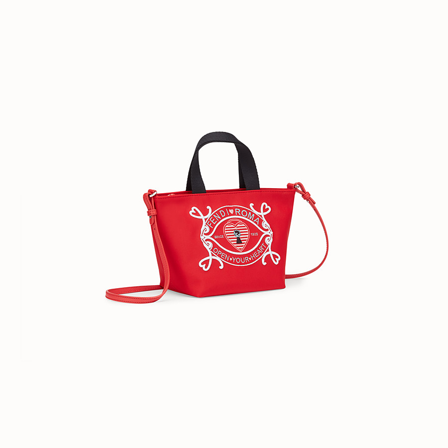FENDI MINI BABY SHOPPING BAG - Red neoprene mini shopping bag - view 2 detail