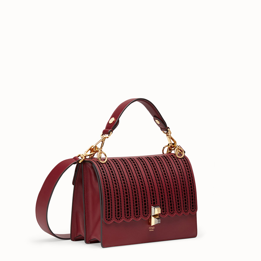 FENDI KAN I - Burgundy leather bag - view 2 detail