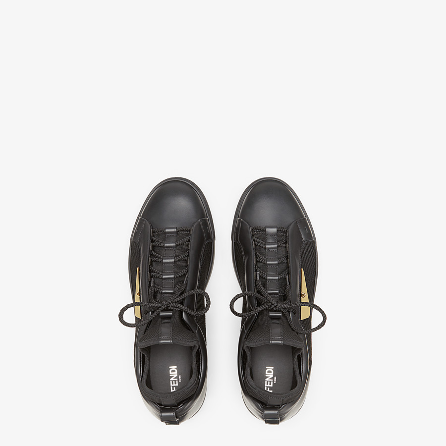 FENDI SNEAKERS - Black leather and tech fabric high-tops - view 4 detail
