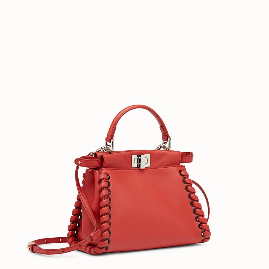 FENDI 迷你款式 PEEKABOO - 紅色軟皮手提包,裝飾編織皮條。 - view 2 detail