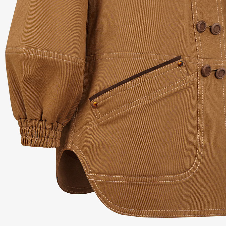 FENDI JACKET - Brown gabardine jacket - view 3 detail
