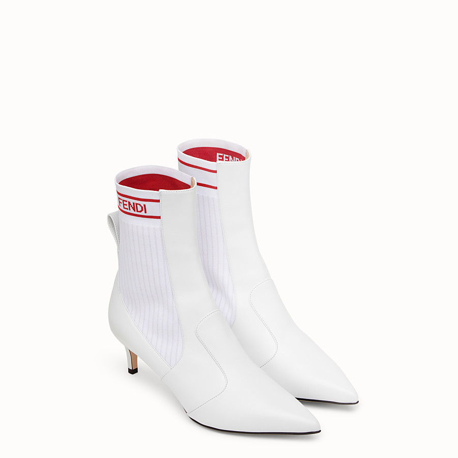 FENDI ANKLE BOOTS - White leather booties - view 4 detail
