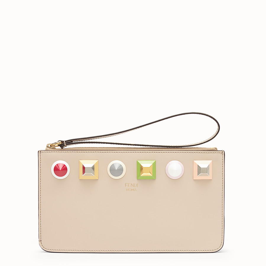 FENDI FLAT CLUTCH - Beige leather pochette - view 1 detail