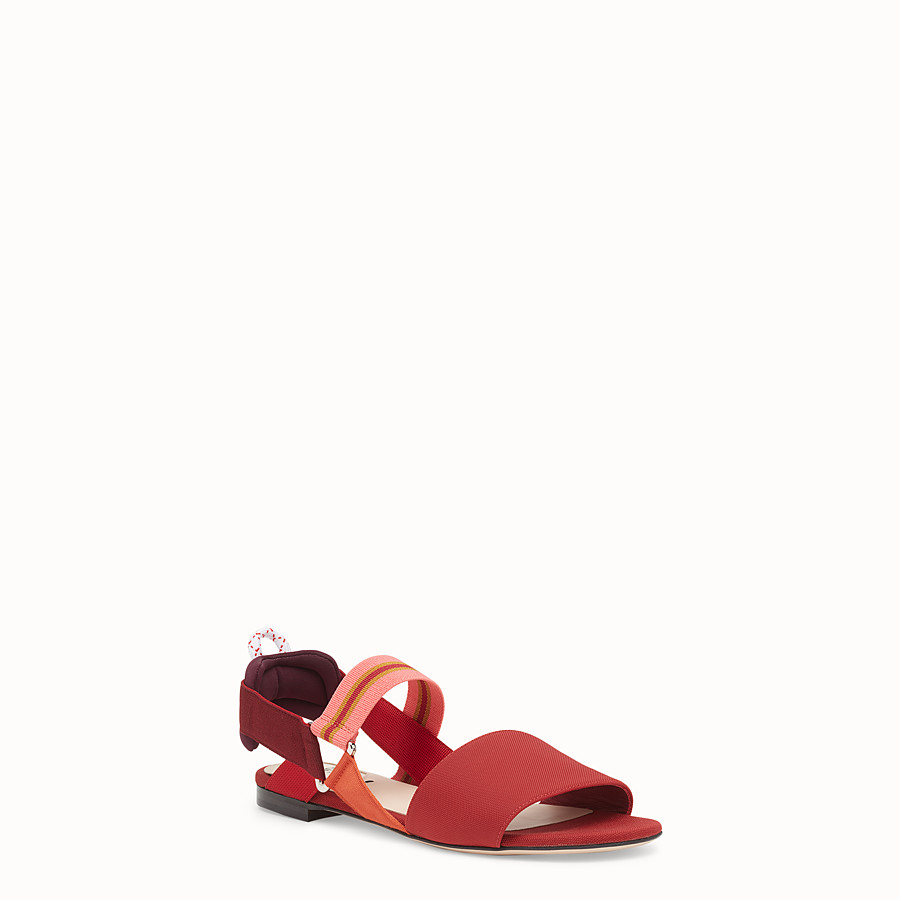 FENDI SANDALS - Red tech fabric flats - view 2 detail
