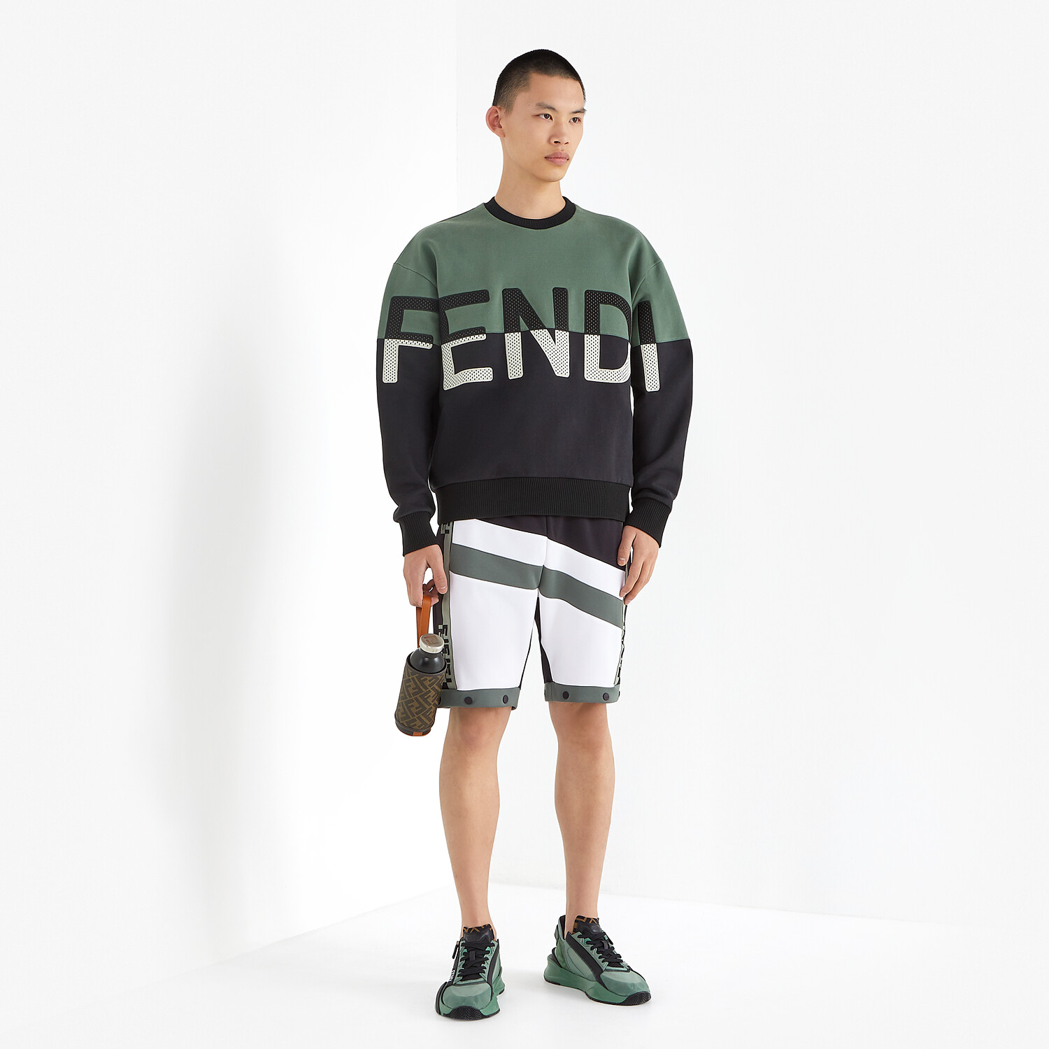 FENDI FENDI FLOW - Green nylon low-tops - view 5 detail