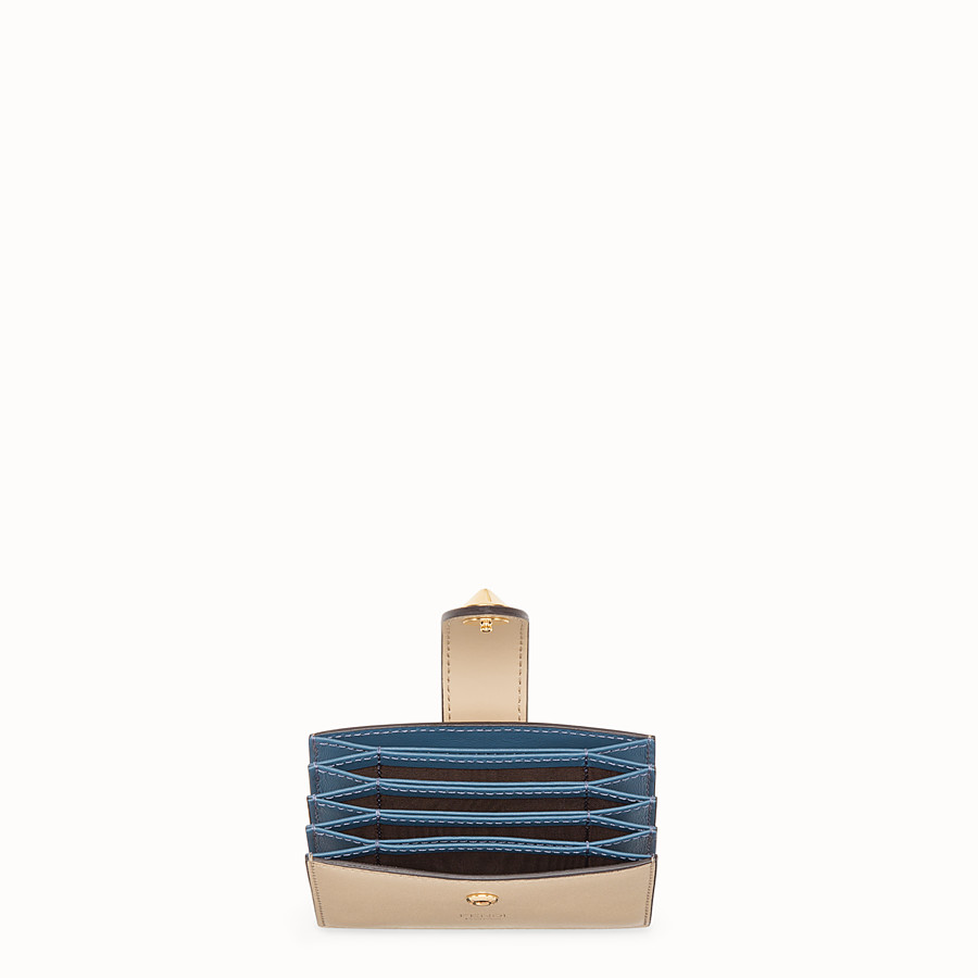 FENDI CARD HOLDER - Beige leather gusseted card holder - view 4 detail