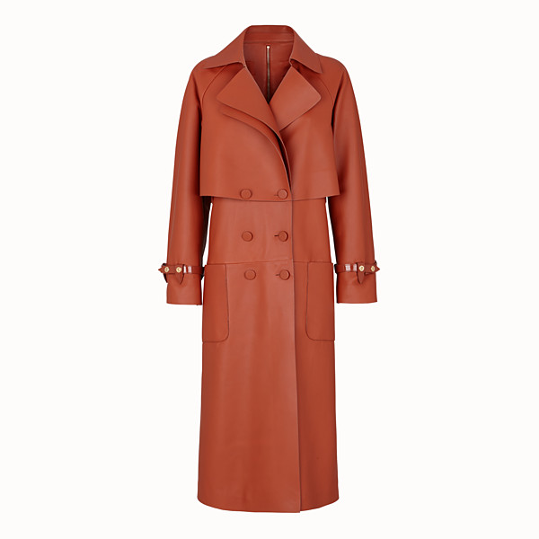 FENDI TRENCH COAT - Brown leather trench coat - view 1 small thumbnail
