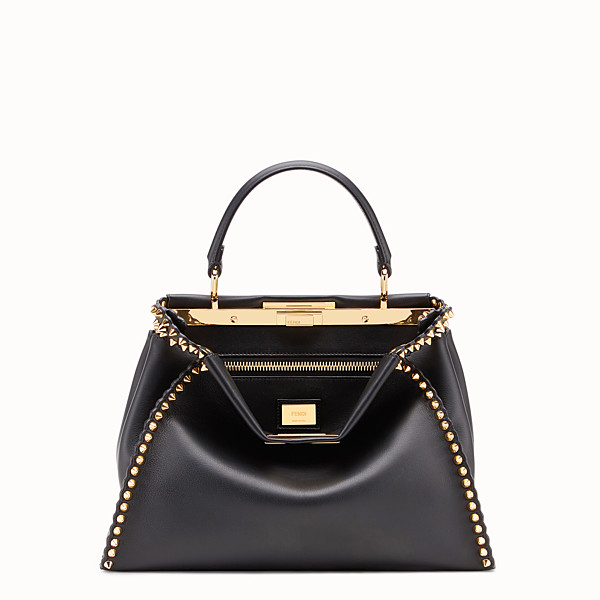 FENDI PEEKABOO REGULAR - Sac en cuir noir - view 1 small thumbnail