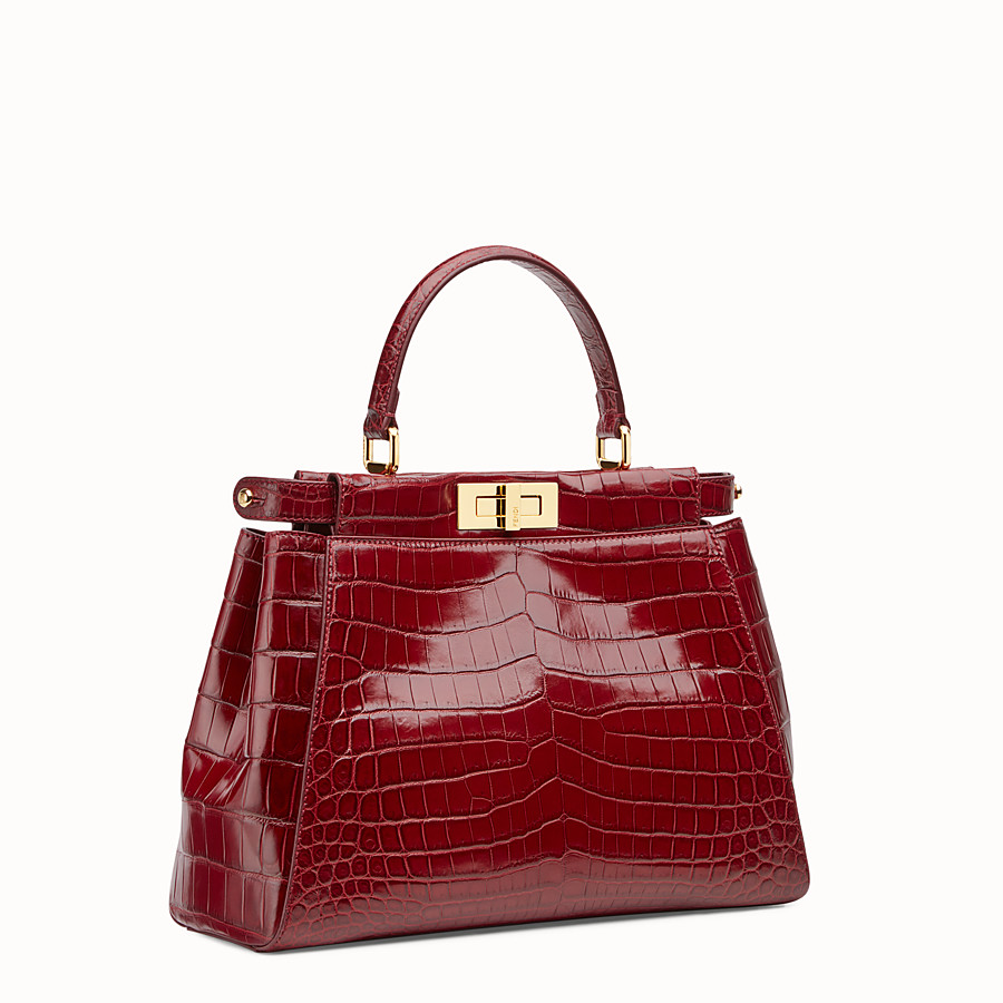 FENDI PEEKABOO REGULAR - Red crocodile leather handbag. - view 2 detail