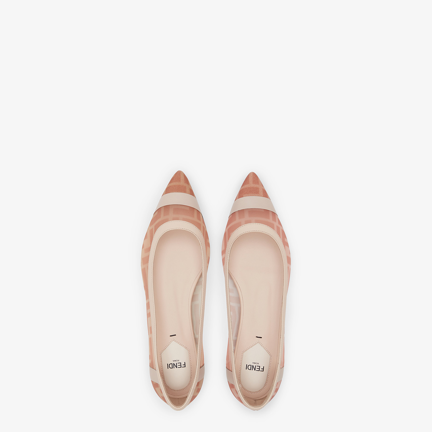 FENDI BALLERINAS - Colibrì in pink mesh and nude leather - view 4 detail