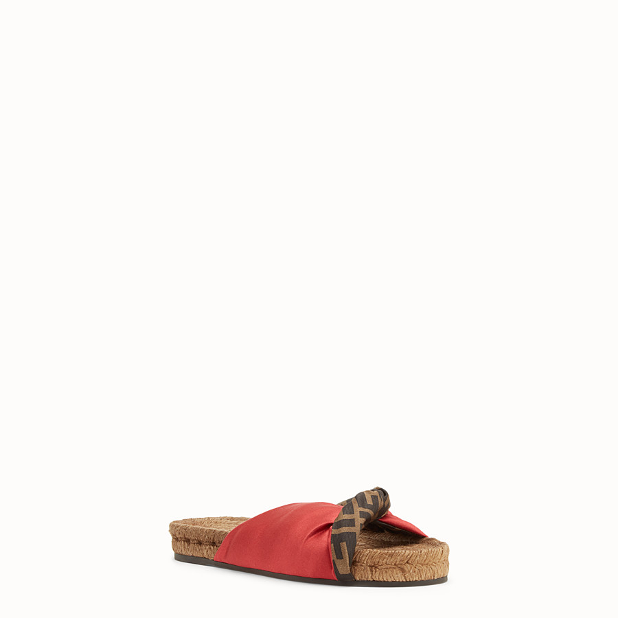 FENDI SANDALS - Red satin slides - view 2 detail