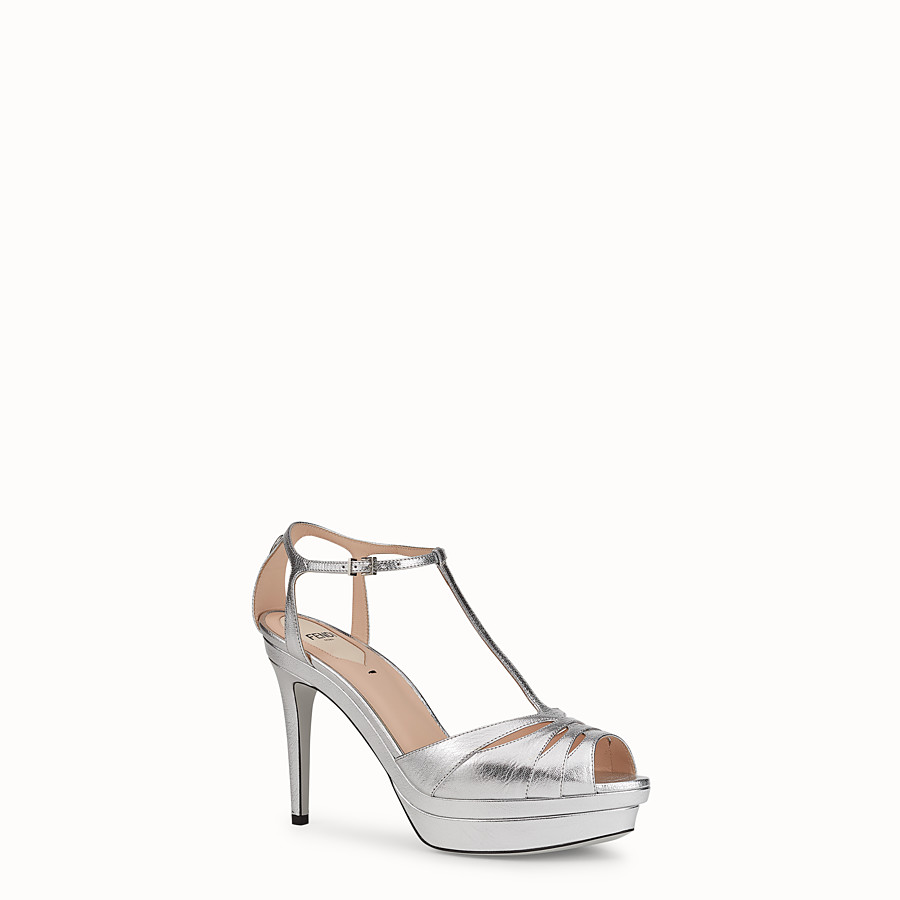 FENDI SANDALS - Silver leather high-heel sandals - view 2 detail