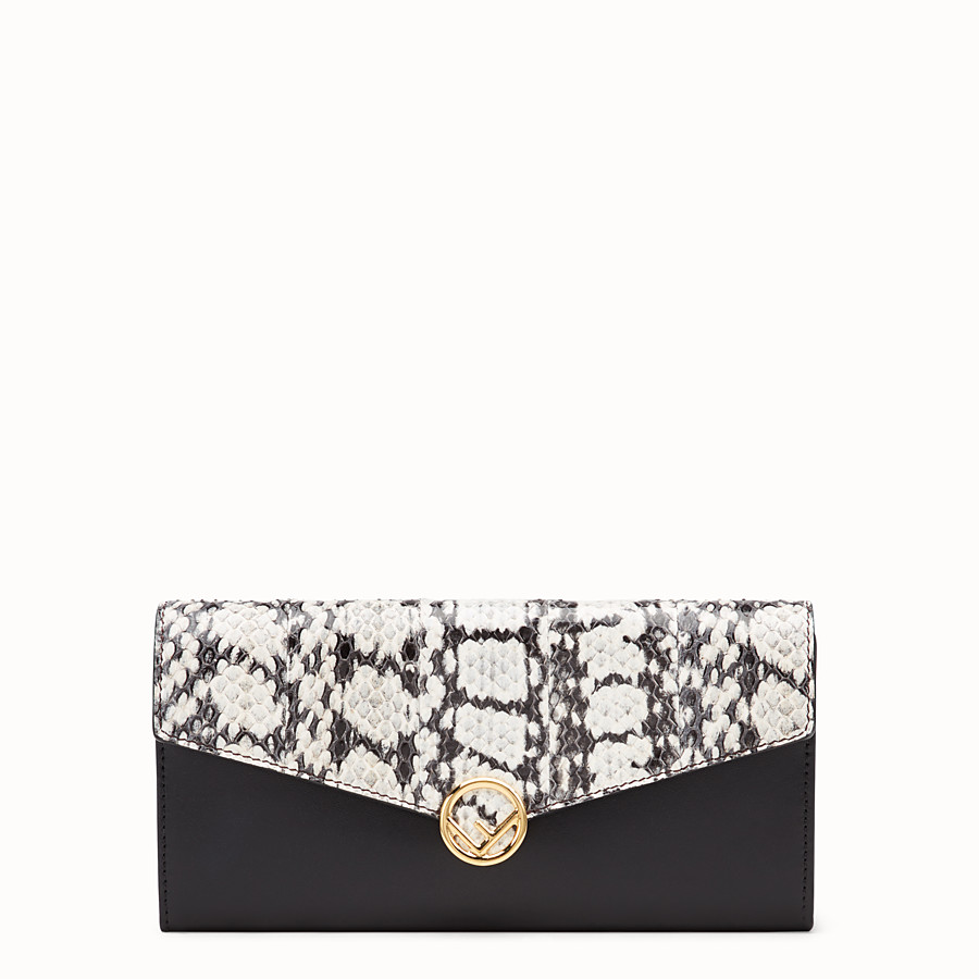 FENDI CONTINENTAL - Black leather wallet with exotic details - view 1 detail