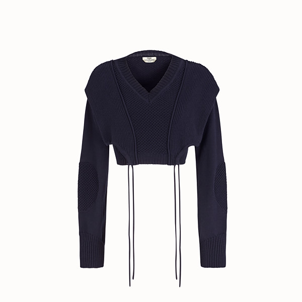 FENDI PULLOVER - Blue cotton sweater - view 1 small thumbnail