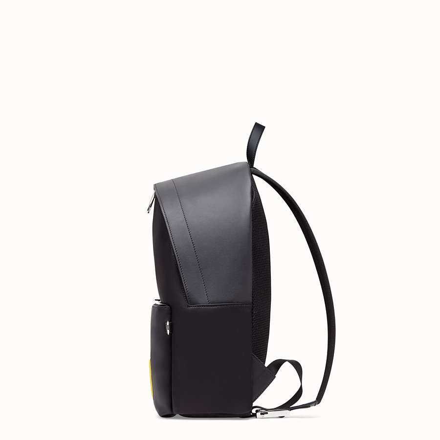 FENDI BACKPACK - Black leather and nylon backpack - view 2 detail