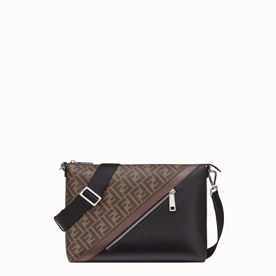 FENDI MESSENGER - Black calfskin bag - view 1 detail