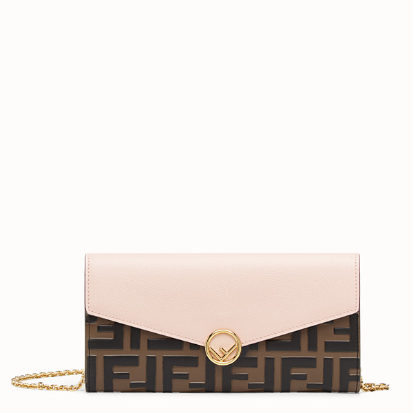 FENDI CONTINENTAL WITH CHAIN - Brown leather wallet - view 1 small thumbnail