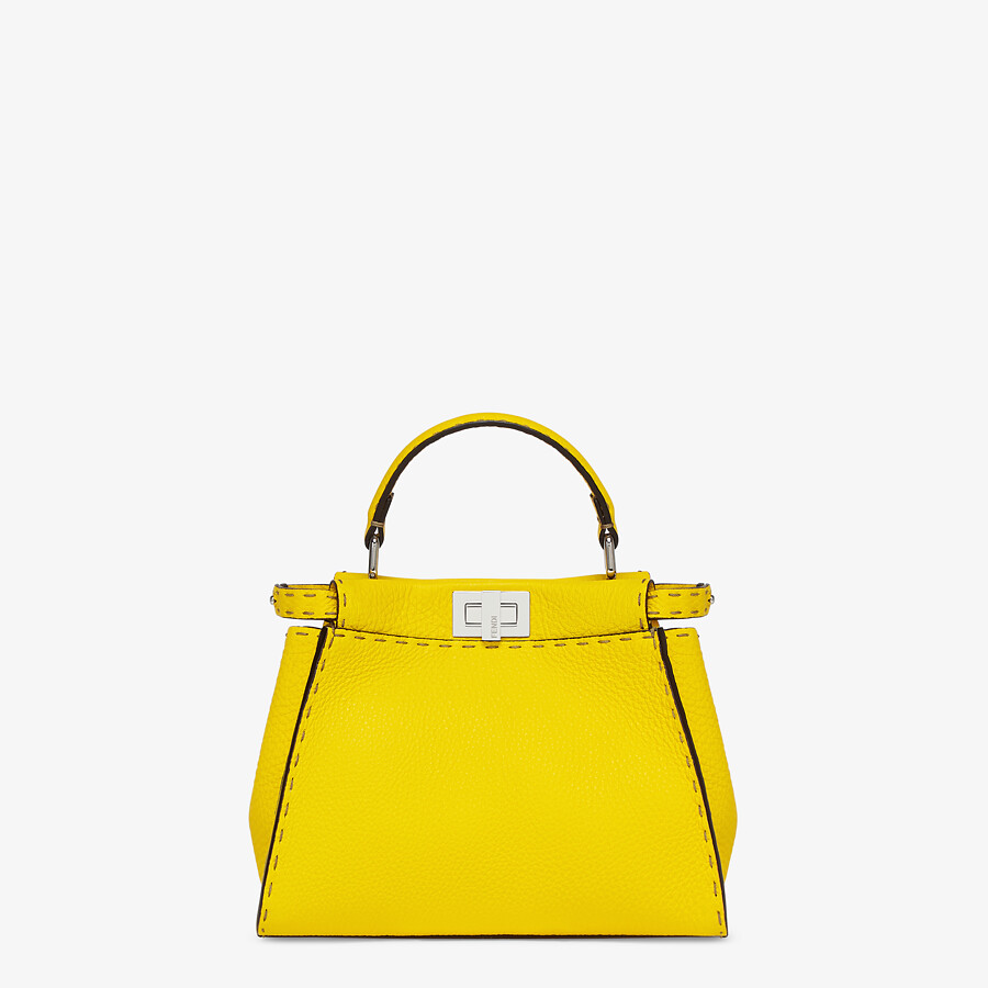 FENDI PEEKABOO ICONIC MINI - Yellow Cuoio Romano leather bag - view 1 detail