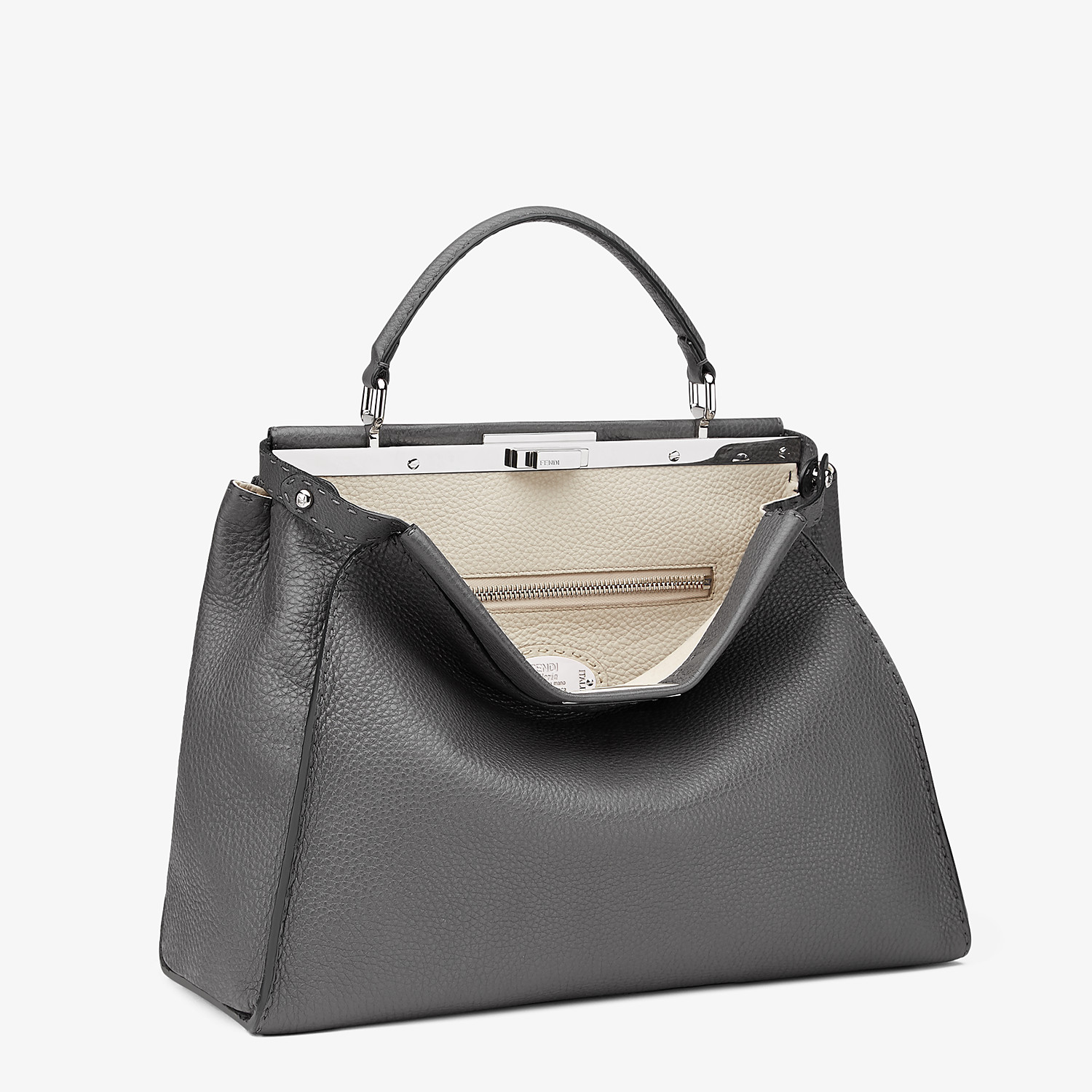 FENDI PEEKABOO ICONIC LARGE - Grey leather handbag - view 2 detail