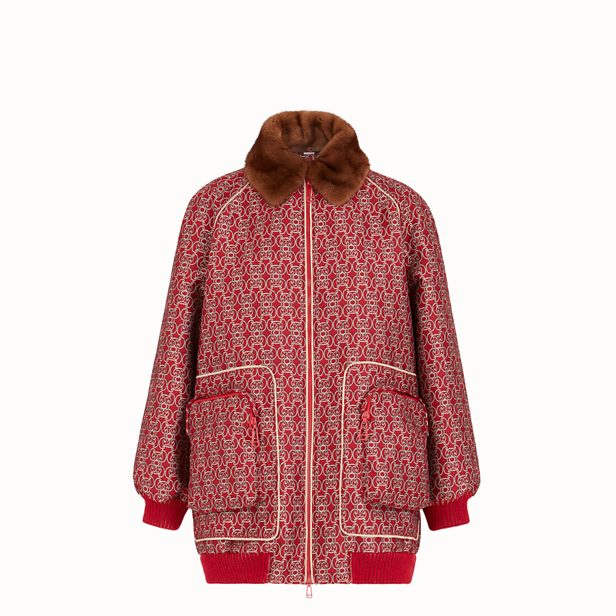 FENDI BOMBER - Red jacquard bomber jacket - view 1 detail