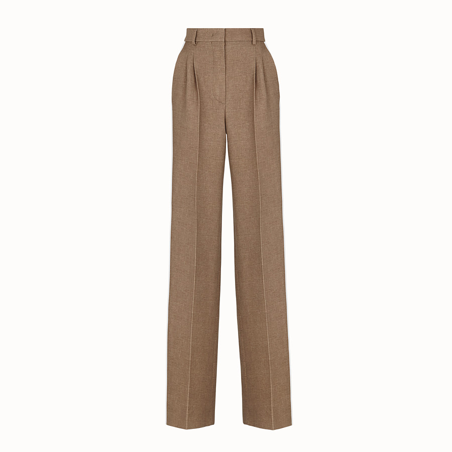 FENDI TROUSERS - Beige silk and wool trousers - view 1 detail
