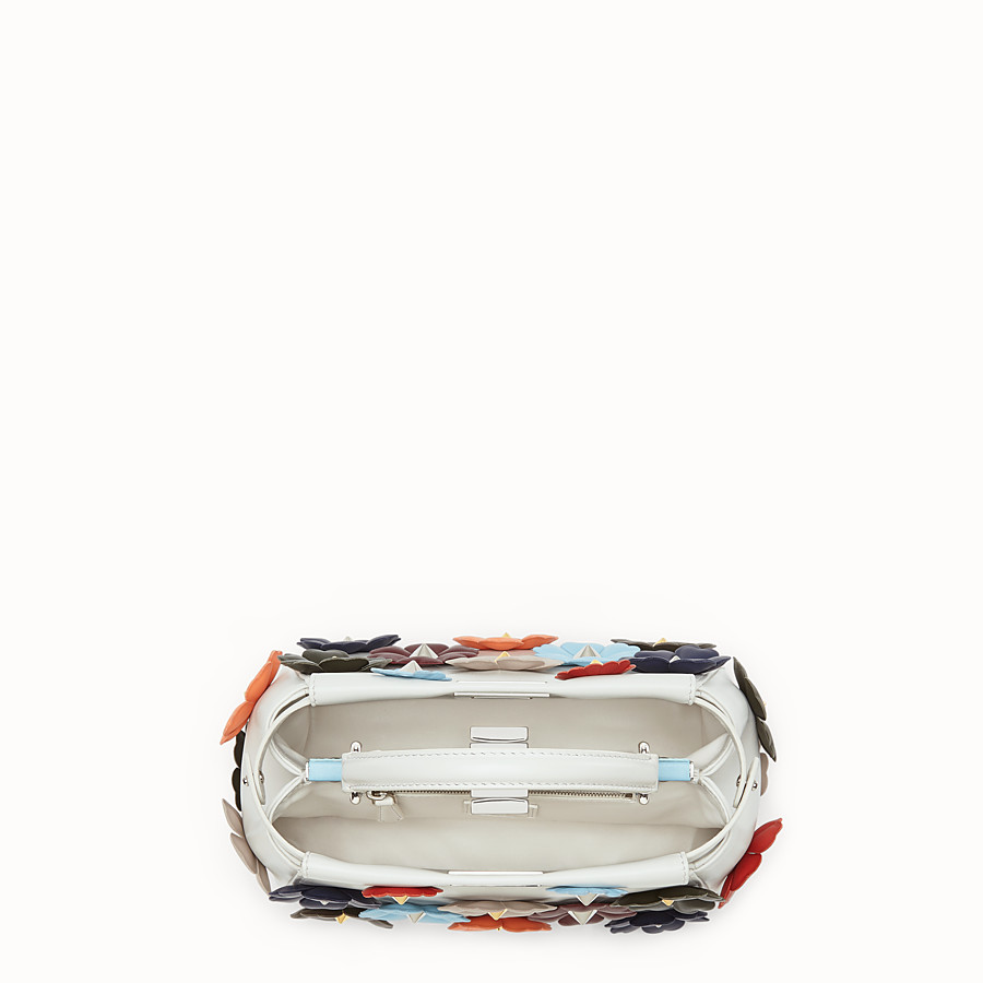 FENDI MINI PEEKABOO - 白色皮革花朵手提包 - view 4 detail