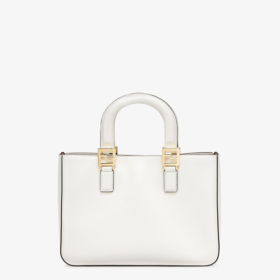 FENDI FF TOTE SMALL - White leather bag - view 3 detail