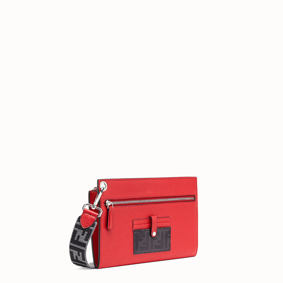 FENDI FLAT POUCH - Black leather bag - view 2 detail
