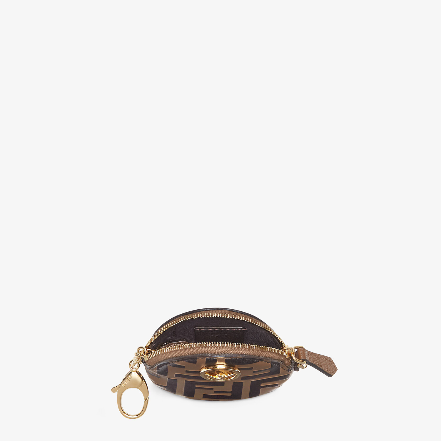 FENDI COIN CASE - Brown leather coin purse - view 3 detail