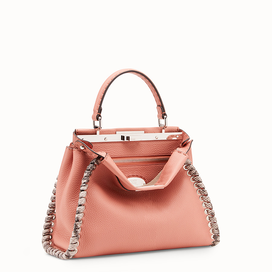 FENDI PEEKABOO REGULAR - Pink leather bag with exotic details - view 2 detail