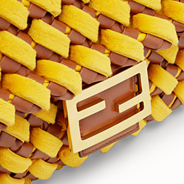 FENDI BAGUETTE LARGE - Yellow mink and nappa leather bag - view 6 thumbnail