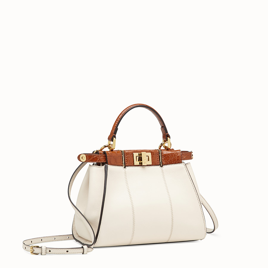 FENDI PEEKABOO ICONIC MINI - White leather bag with exotic details - view 3 detail