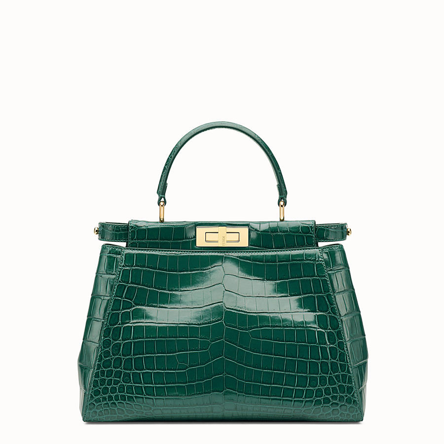 FENDI PEEKABOO REGULAR - Emerald green crocodile leather handbag. - view 1 detail