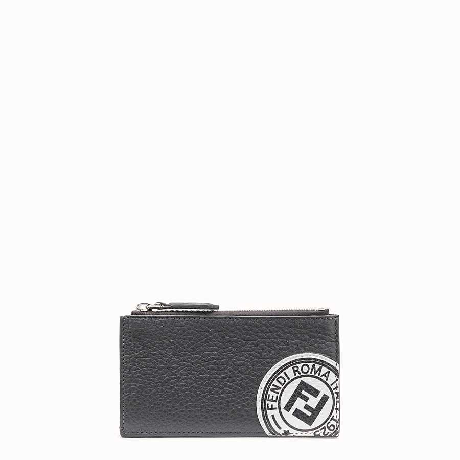 FENDI CARD HOLDER - Grey leather cardholder - view 1 detail