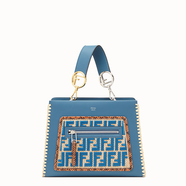 FENDI RUNAWAY SMALL - Blue leather bag with exotic details - view 1 small thumbnail