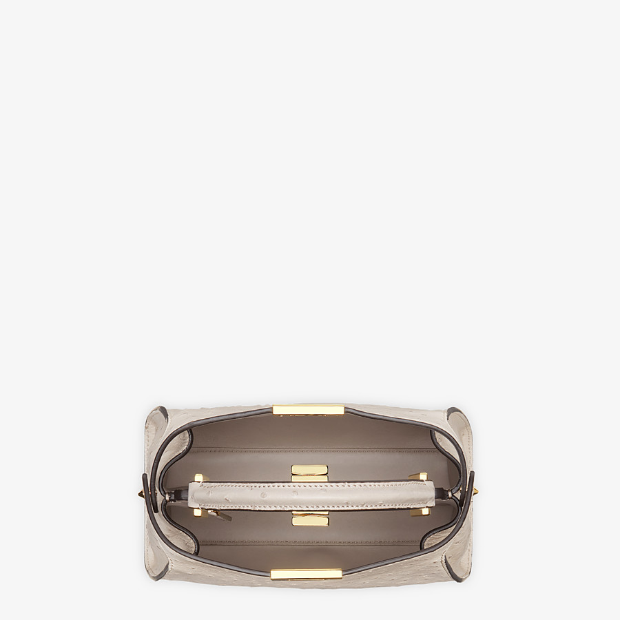 FENDI PEEKABOO ICONIC ESSENTIALLY - Gray ostrich leather bag - view 5 detail