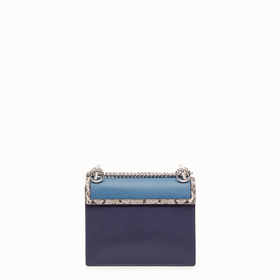 FENDI KAN I SMALL - Blue leather mini-bag with exotic details - view 3 detail