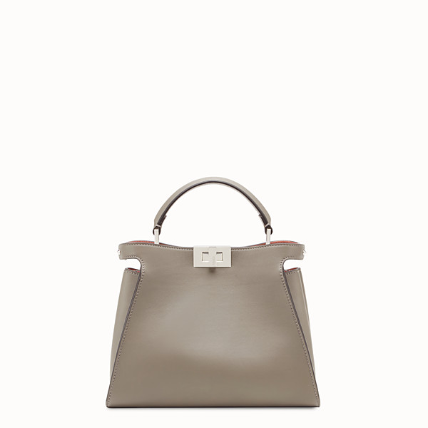 FENDI PEEKABOO ESSENTIAL - Gray leather bag - view 1 small thumbnail