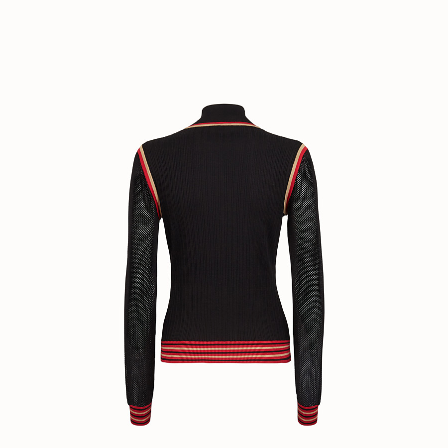 FENDI JUMPER - Black silk jumper - view 2 detail