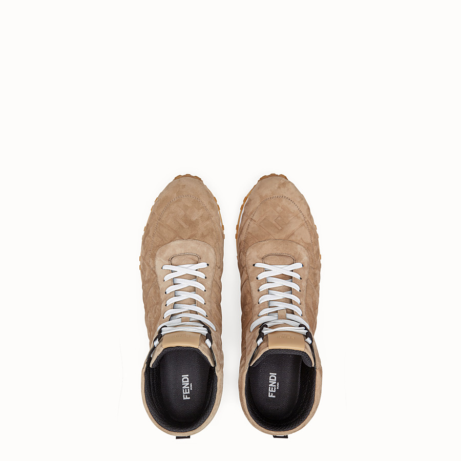 FENDI SNEAKERS - Beige suede high-tops - view 4 detail