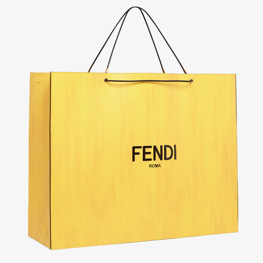FENDI FENDI PACK LARGE SHOPPING BAG - Yellow leather bag - view 2 detail